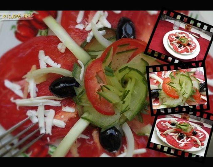 Свежа салата с домати, краставици, сирене и маслини