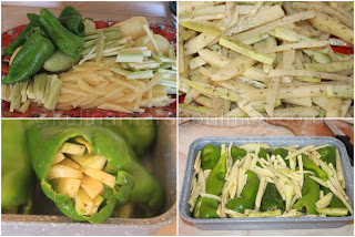 Пълнени чушки с картофи и тиквички - рецепта