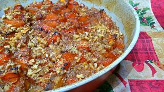 Печена тиква с мед и орехи - рецепта