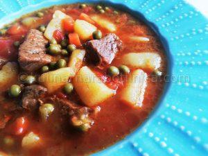 Рецепта за супа с телешко, картофи и грах