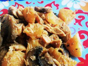 Пиле с ананас и гъби - рецепта