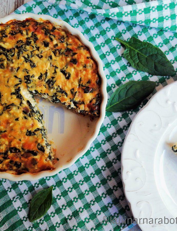 Киш със спанак, сирене и кашкавал