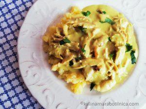 Пиле фрикасе - рецепта със сметана и къри